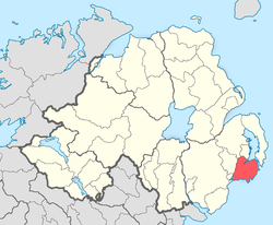 Location of the former barony of Lecale, County Down, in present-day Northern Ireland. It was based on the Irish district of Leath Cathail