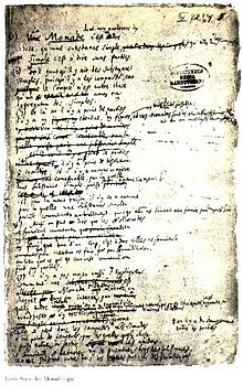 gottfried wilhelm leibniz  wikipedia a page from leibnizs manuscript of the monadology