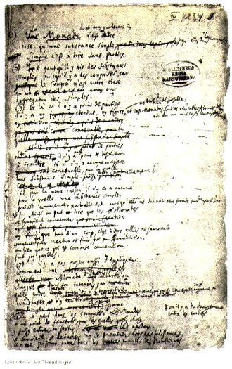 Gottfried Wilhelm Leibniz - A page from Leibniz's manuscript of the Monadology
