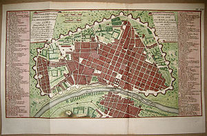 Historic Centre of Lima - Map of the city of Lima with walls of 1750.