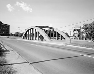 Arkansas Highway 10 - AR 10 runs on this bridge over the Union Pacific Railroad in Little Rock. It was built in 1928.