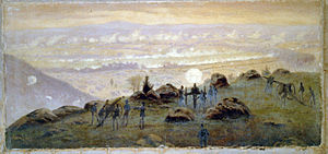 Little Round Top - View from the summit of Little Round Top at 7:30 P.M. July 3rd, 1863, painting by Edwin Forbes