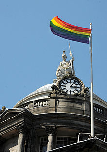 Rainbow flag over Liverpool Town Hall