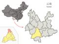 Location of Jingdong within Yunnan (China).png
