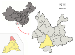 Location of Jingdong County (pink) and Pu'er Prefecture (yellow) within Yunnan province of China