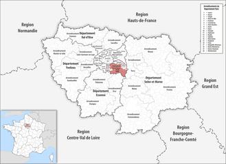 Arrondissement of Créteil - Image: Locator map of Arrondissement Créteil