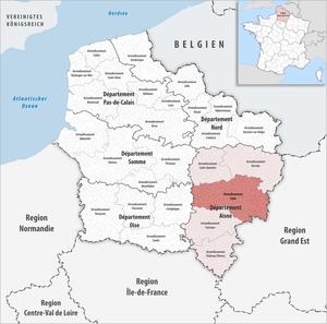 Arrondissement of Laon - Image: Locator map of Arrondissement Laon
