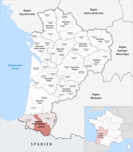 Location within the region Nouvelle-Aquitaine