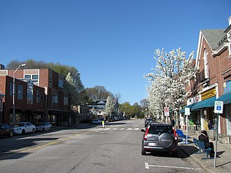 Belmont, Massachusetts - Looking north on Leonard Street in the town center