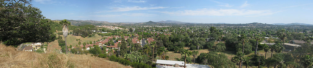 Looking southwest across Escondido from the hills near Dixon Lake