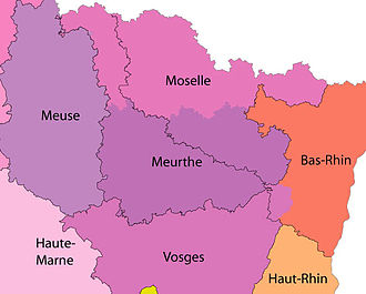 Lorraine - Lorraine in 1870: Colors show the original departments' territories