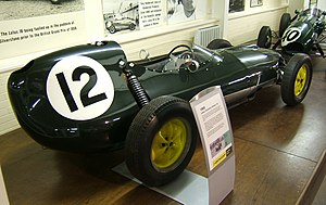 Chapman strut - Lotus 16 Grand Prix car Note the height of the rear strut