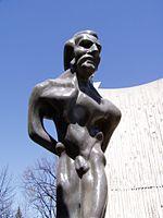 """""""Tortured"""" Louis Riel statue at the Collège universitaire de Saint-Boniface"""