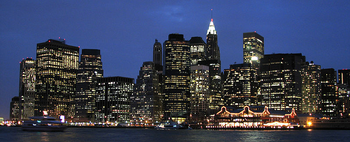 English: Lower Manhattan at late dusk.