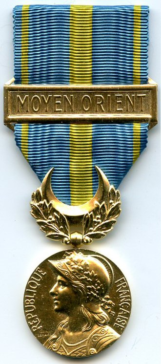 Middle East operations commemorative medal (1956) - Image: MEDAILLE COMMEMORATIVE DES OPERATIONS DU MOYEN ORIENT 1956 AVERS