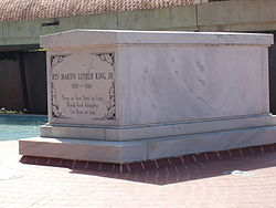 Martin Luther King's tomb, located on the grounds of the King Center