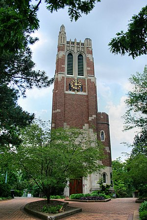 Campus of Michigan State University - Beaumont Tower marks the site of the old College Hall, and is surrounded on all sides by West Circle Drive.