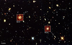 Hubble Deep Field South - Image: MUSE goes beyond Hubble in the Hubble Deep Field South