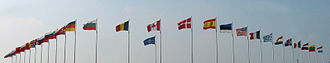 Supreme Headquarters Allied Powers Europe - Flags of the NATO countries in front of SHAPE (Maisières, Belgium, 2006).