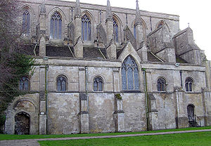 William of Malmesbury - A view of Malmesbury Abbey in Wiltshire, completed in 1180; it remains in use as the parish church of Malmesbury