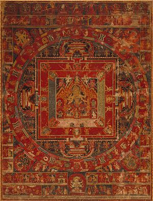 Vasudhara - Nepalese painting of the Mandala of Vasudhara, 1495