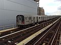 Manhattan bound R142 4 train enters Yankee Stadium.jpg