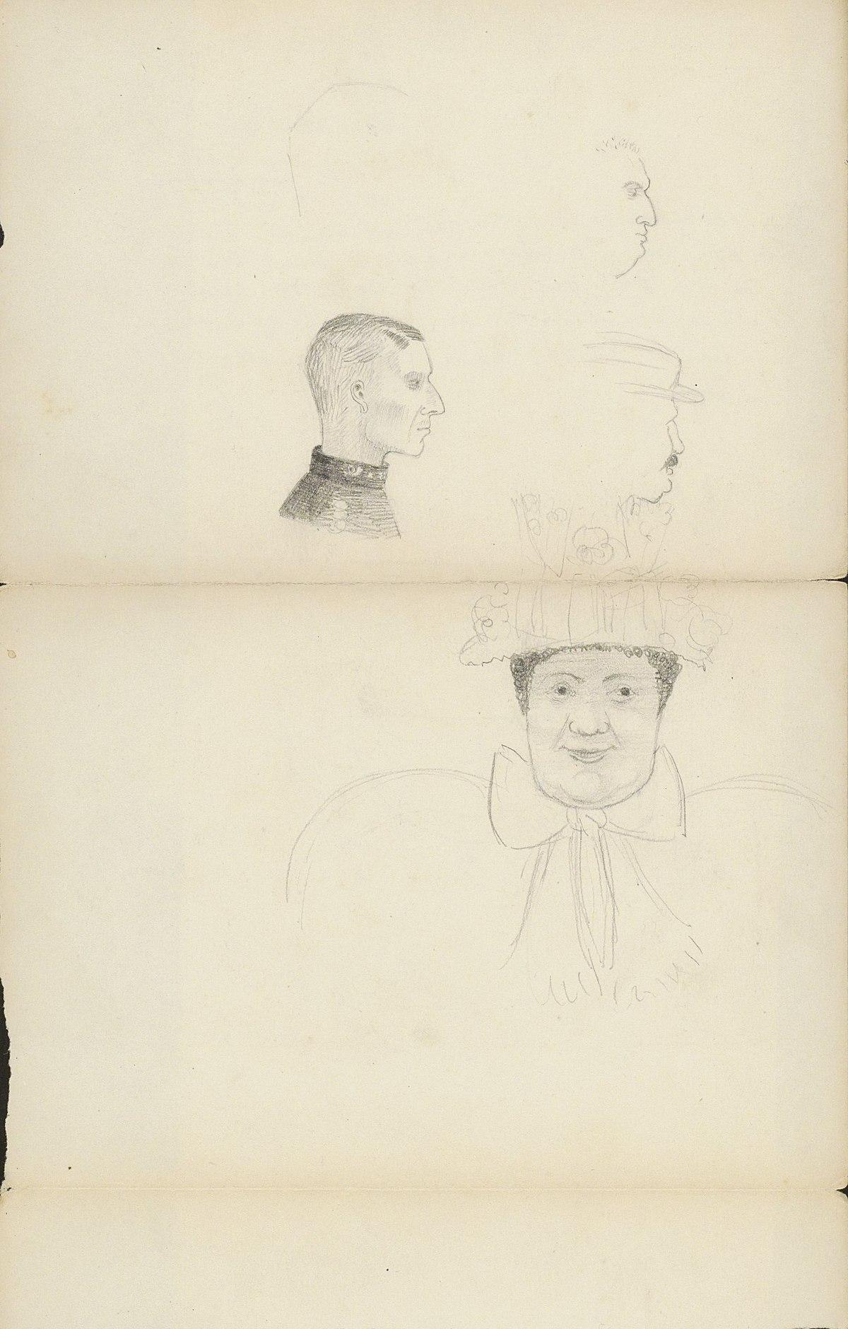 File:Mannenkoppen en een karikaturale kop van een man met ...
