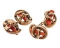 Manschettknappar av guld med röd korall - Hallwylska museet - 110038.tif