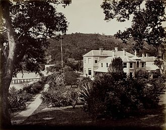 Kawau Island - View of Mansion House and garden (c. 1870)