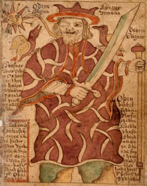 The one-eyed Odin with his ravens Hugin and Mu...