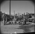 Manzanar Relocation Center, Manzanar, California. A practice fire drill gives the local fire depart . . . - NARA - 536948.tif
