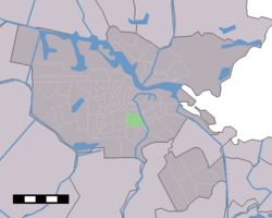 Location of De Pijp (green) in Amsterdam
