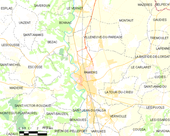 Map of the commune de Pamiers