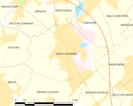 Mapa obce Noeux-les-Mines