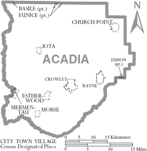 Acadia Parish, Louisiana - Map of Acadia Parish, with municipal labels