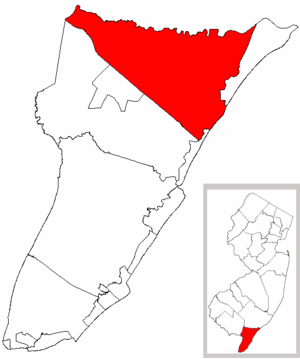 Upper Township, New Jersey - Image: Map of Cape May County highlighting Upper Township