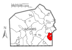 Map of Adams County, Pennsylvania highlighting Conewago Township
