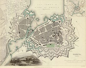 History of Geneva - Map of Geneva and surroundings in 1841. The colossal fortifications were demolished ten years later.
