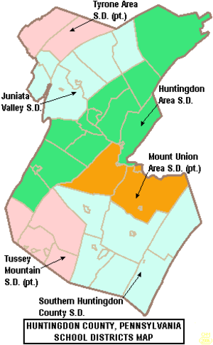 Tyrone Area School District - Map of Huntingdon County, Pennsylvania School Districts showing a part of Tyrone Area School District