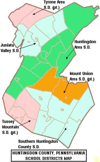 Huntingdon County, Pennsylvania - Map of Huntingdon County, Pennsylvania School Districts