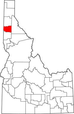 map of Idaho highlighting Benewah County
