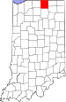 Map of Indiana highlighting Elkhart County.svg