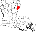 State map highlighting Tensas Parish