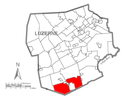 Map of Luzerne County, Pennsylvania Highlighting Hazle Township