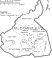 Map of McDowell County North Carolina With Municipal and Township Labels.PNG