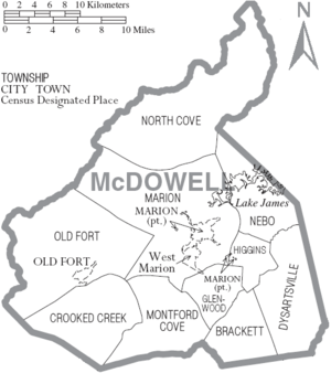 McDowell County, North Carolina - Map of McDowell County, North Carolina With Municipal and Township Labels