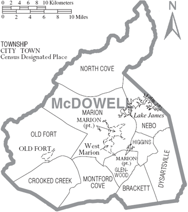 Map of McDowell County, North Carolina With Municipal and Township Labels Map of McDowell County North Carolina With Municipal and Township Labels.PNG