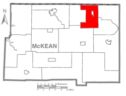 Map of McKean County, Pennsylvania highlighting Eldred Township