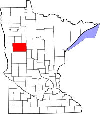 Map of Minnesota highlighting Becker County