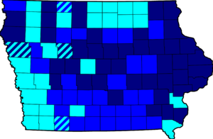 John Edwards presidential campaign, 2008 - Image: Map of Results of Iowa Democratic Caucuses 2008 2675px
